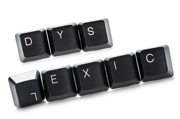 dyslexic computer keys isolated