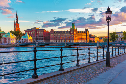 Scenic sunset in Stockholm, Sweden