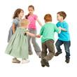 Happy kids playing circle game