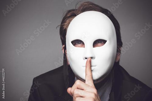 canvas print picture Mann mit der weißen Maske