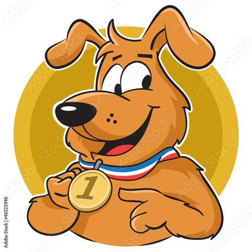 Dog with medal