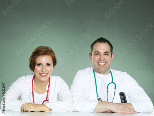 Two medical students are happy with her course of studies