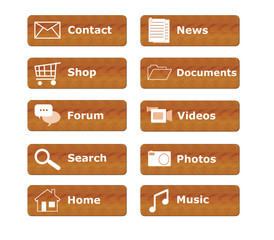 Botones para menú de página Web en madera