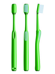 Front, side and back views of green toothbrush. Eps10