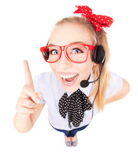 Funny call center concept - woman with headset