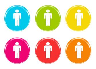 Iconos de colores con el símbolo de un hombre
