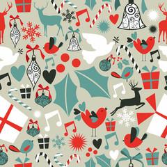 Christmas icons seamless pattern