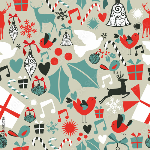 Christmas icons seamless pattern