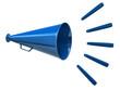 Blue megaphone icon