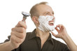 man demonstrating shaving razor