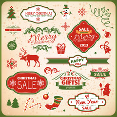 christmas and new year decoration elements