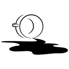 Illustration of an overturned cup and spilled coffee. eps10