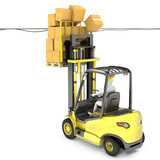 Fork lift truck with high load hits wires