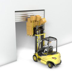 Fork lift truck with high load hits door