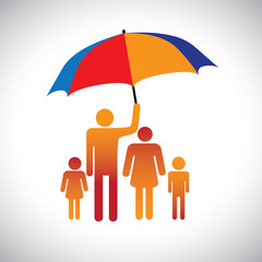 Illustration of a family of four with umbrella. The graphic repr