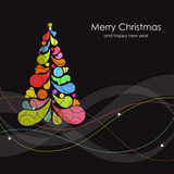 Christmas card with multicolored tree