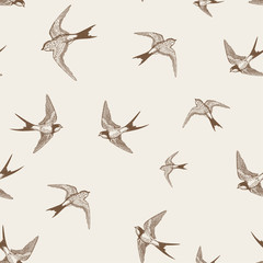 vintage pattern with white little swallows
