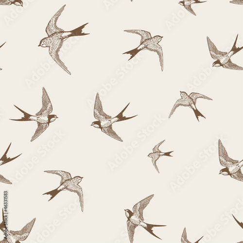 vintage pattern with white little swallows - 46331583