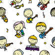Seamless background with happy children with musical instruments
