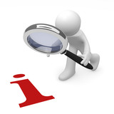 3d man with a magnifying glass and a red info icon