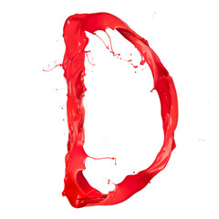 "Red paint splash letter ""D"" isolated on white background"