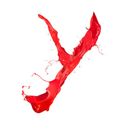 "Red paint splash letter ""Y"" isolated on white background"