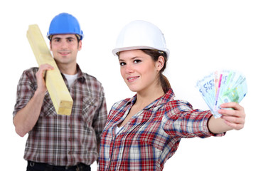 Hardworking blue collar worker