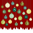 Advent Calendar Hanging Christmas Balls Red Green Forest