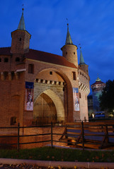 A gate to Krakow - barbican, Poland by night