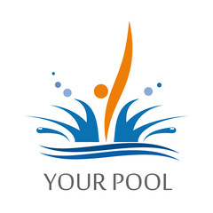 Logo dips in the pool # Vector