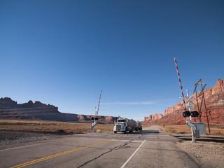 truck at railroad crossing