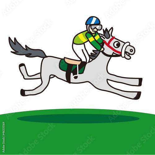走る芦毛の競走馬