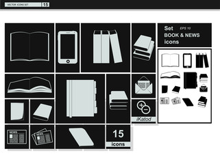 Vector collection web icons.  Book and newspaper