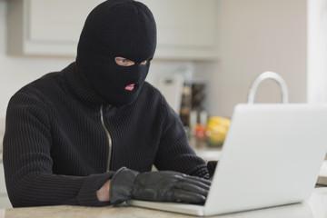 Burglar hacking a laptop