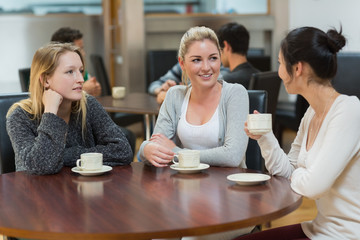 Students talking together in coffee shop