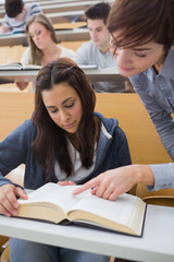 Lecturer pointing to something on student's book