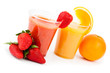 Strawberry smoothed and orange juice