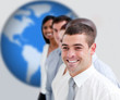 Businesspeople standing smiling