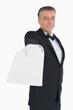 Waiter handing out card