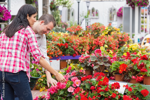 Couple choosing plants in garden center