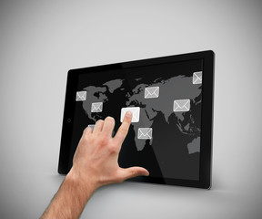 Finger touching at tablet pc