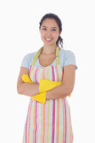 Smiling woman wearing rubber gloves and apron