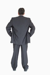 Businessman standing back to the camera with hands on hip