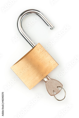 Key in unlocked padlock