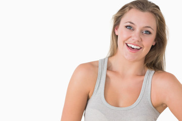 Smiling woman looking natural