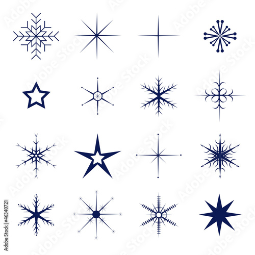 schneeflocken set isoliert blau