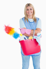 Maid holding a pink bucket