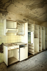 old kitchen destroyed, interior abandoned house
