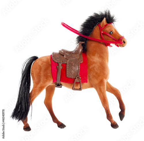 brown toy horse on a white background