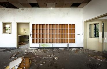 old abandoned hotel, reception